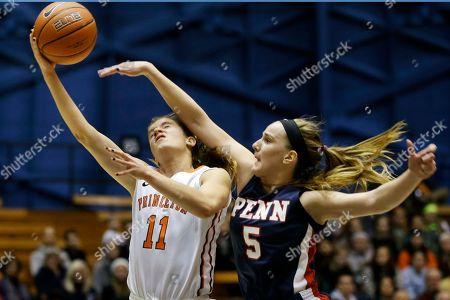 Blake Dietrick, Kathleen Roche Princeton guard Blake Dietrick (11) takes a shot as she is hit by Penn defender Kathleen Roche (5) during the first half of an NCAA college basketball game, in Princeton, N.J