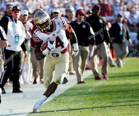 Stock Photo of Matthew McNulty Florida State wide receiver Matthew McNulty runs against Florida State during the first half of the Rose Bowl NCAA college football playoff semifinal, in Pasadena, Calif
