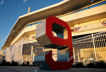 The number No.9 of Red Sox legend Ted Williams sits outside of jetBlue Park, the teams baseball spring training facility in Fort Myers, Fla, . Red Sox pitchers and catchers are scheduled to begin work outs Saturday