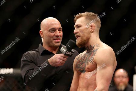 Conor McGregor, Joe Rogan Conor McGregor, of Ireland, is interviewed by Joe Rogan after defeating Denis Siver at UFC Fight Night, in Boston. McGregor won via 2nd round TKO