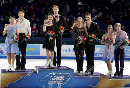 Maia Shibutani, Alex Shibutani, Madison Chock, Evan Bates, Madison Hubbell, Zachary Donohue, Kaitlin Hawayek, Jean-Luc Baker Top finishers of the dance competition, from left, Maia Shibutani and Alex Shibutani, second place; Madison Chock and Evan Bates, first place; Madison Hubbell and Zachary Donohue, third place; and Kaitlin Hawayek and Jean-Luc Baker, fourth place, pose on the medals stand during the awards ceremony in the U.S. Figure Skating Championships in Greensboro, N.C
