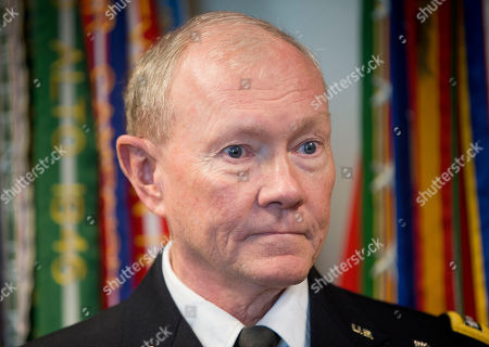 Martin E. Dempsey Joint Chiefs Chairman Gen. Martin E. Dempsey listens to question from a member of the media during his meeting with Israeli Defense Minister Benny Gantz at the Pentagon