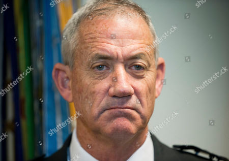 Benny Gantz Israeli Defense Minister Benny Gantz pauses as he answers questions from members of the media during his meeting with Joint Chiefs Chairman Gen. Martin E. Dempsey, at the Pentagon