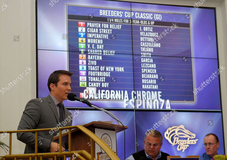 Stock Photo of Laffit Pincay Laffit Pincay III announces the Breeders' Cup Classic and Distaff post position draw, in Arcadia, Calif