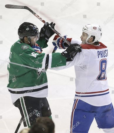 Brandon Prust, Ryan Garbutt Montreal Canadiens right wing Brandon Prust (8) and Dallas Stars left wing Ryan Garbutt (16) mix it up during the second period of an NHL hockey game, in Dallas
