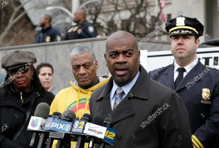 Ras Baraka, Anthony Campos Newark Mayor Ras Baraka, center right, talks during a news conference outside of the federal building, in Newark, N.J. Organizers met with the mayor and police Chief Anthony Campos, right, in the wake of a grand jury decision on Monday not to indict Ferguson, Missouri, police officer Darren Wilson in the fatal shooting of unarmed 18-year-old Michael Brown. The National Action Network also is calling for protests in Atlantic City, Paterson and Camden