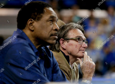 Dave Winfield, left, former baseball star and tennis great Jimmy Connors watch during the second half of an NCAA college basketball game between UCLA and Gonzaga in Los Angeles, . Gonzaga won 87-74