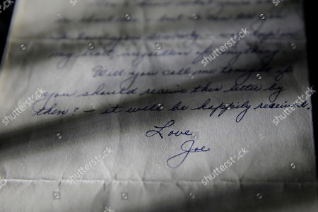 "Marilyn Monroe This photo shows part of a three-page handwritten letter from baseball legend Joe DiMaggio to Marilyn Monroe that was postmarked Oct. 9, 1954 on display at Julien's Auctions in Beverly Hills, Calif. The letter is among the 300 items that are part of ""Marilyn Monroe's Lost Archives"" that go up for bid at Julien's Auctions in Beverly Hills on Dec. 5-6, 2014"