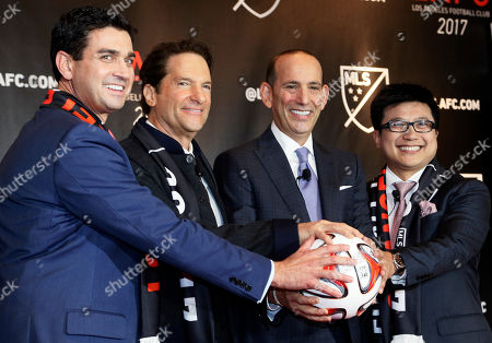 Don Garber, Tom Penn, Peter Guber, Henry Nguyen Major League Soccer announces the details of the league's plan to launch a second team in the Los Angeles area after shutting down Chivas USA, at a news conference in Los Angeles . Flanking MLS commissioner Don Garber, second from right, are members of the ownership group Tom Penn, Peter Guber and Henry Nguyen, right. The new team, the Los Angeles Football Club, will begin play in 2017 with strong owners and plans for a soccer-specific stadium