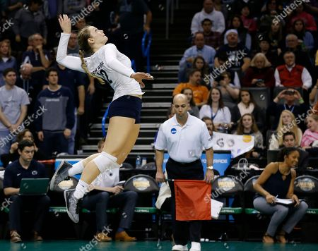 Micha Hancock Penn State's Micha Hancock jumps up for a serve against BYU during the NCAA women's volleyball tournament championship match in Oklahoma City, . Penn State won in three sets