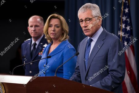 Chuck Hagel, Deborah Lee Jones, Stephen Wilson Defense Secretary Chuck Hagel speaks during a news conference at the Pentagon, where he announced that he is ordering top-to-bottom changes in how the nation's nuclear arsenal is managed, vowing to invest billions of dollars more to fix what ails a force beset by leadership lapses, security flaws and sagging morale. From left are, Air Force Global Strike Command Commander Lt. Gen. Stephen Wilson, Air Force Secretary Deborah Lee Jones, and Hagel