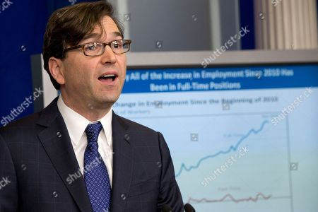 Stock Picture of Jason Furman Council of Economic Advisers Chairman Jason Furman speaks about the economy during the White House daily news briefing in Washington