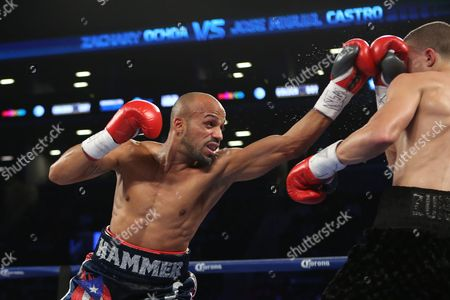 Jose Miguel Castro Zachary Ochoa take a punch against Jose Miguel Castro during their fight at the Barclay's Center in Brooklyn, NY on . Ochoa won via decision