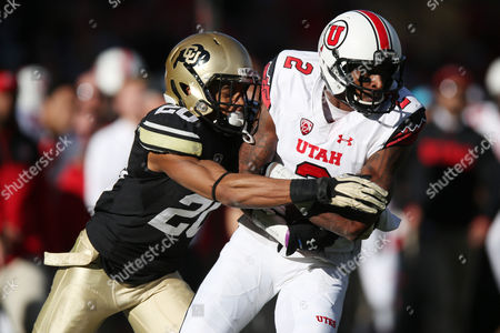 Greg Henderson, Kenneth Scott Utah wide receiver Kenneth Scott, right, is tackled by Colorado defensive back Greg Henderson in the third quarter of Utah's 38-34 victory in an NCAA college football game in Boulder, Colo., on