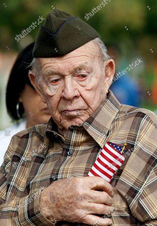 Stock Photo of John Hollis World War II and Korean War veteran, John Hollis, 92, attends the Veterans Day ceremony at McCambridge Recreation Center in Burbank, Calif