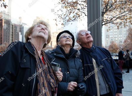 Stock Photo of Peggy Stewart, left, joins friends Eve and Cos Contento as they gaze up at 1 World Trade Center where a scaffolding still dangled hours after two window washers were rescued by firefighters who sawed through a window to reach them, in New York