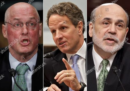S shows, from left, former Treasury Secretary Henry Paulson, former Treasury Secretary Timothy Geithner, and former Federal Reserve Chairman Ben Bernanke. The three top former government leaders who devised the 2008 financial bailouts are set to testify this week in a lawsuit over the government's rescue of the insurance giant AIG