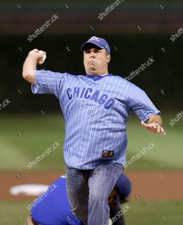 Anthony Mascolo Anthony Mascolo throws out a ceremonial first pitch before a baseball game between the Chicago Cubs and the St. Louis Cardinals, in Chicago