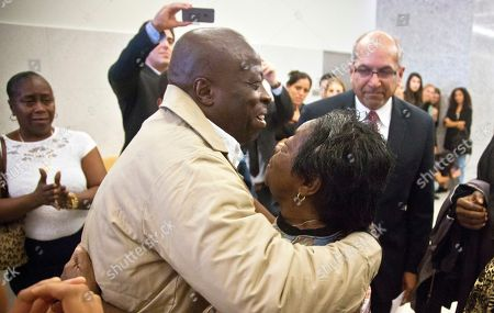 David McCallum embraces his mother Ernestine McCallum after his exoneration in New York. McCallum and Willie Stuckey, who died in prison, were 16 years old when they were convicted of murder. A judge exonerated both men for wrongful conviction