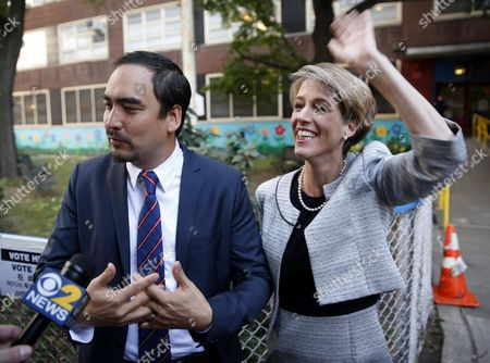 Stock Picture of Zephyr Teachout, Tim Wu Zephyr Teachout, a Democratic gubernatorial candidate, right, waves to a supporter while Tim Wu, a Democratic lieutenant gubernatorial candidate, speaks to the media before voting in New York, . New York Gov. Andrew Cuomo faces a challenge in his bid for a second term in the Democratic primary as he seeks to dispatch liberal activist Teachout. Also on the ballot is Columbia University law professor Tim Wu, Teachout's choice for lieutenant governor