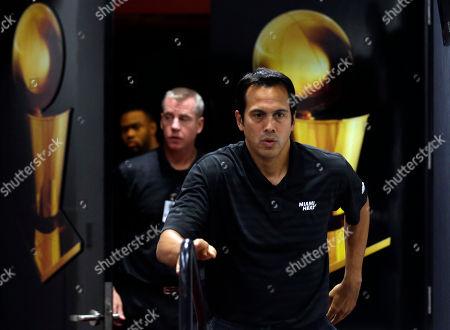Erik Spoelstra Miami Heat head coach Erik Spoelstra walks into the interview room during Heat basketball media day, in Miami