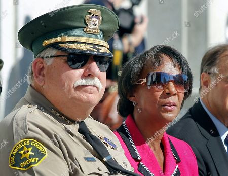 John Scott, Jackie Lacey Los Angeles County Sheriff John Scott, left, and District Attorney Jackie Lacey join members of the Board of Supervisors, during a ceremony marking the reopening of the Los Angeles Hall of Justice, in Los Angeles, after a two-decade closure and a $231 million renovation. The ornate neoclassical building was built in 1925