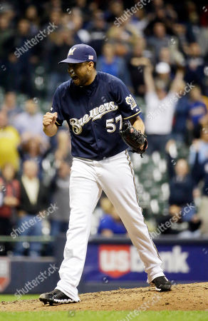 Francisco Rodriguez Milwaukee Brewers relief pitcher Francisco Rodriguez reacts after getting Miami Marlins' Jeff Baker to strike out and end a baseball game, in Milwaukee. The Brewers won 4-2
