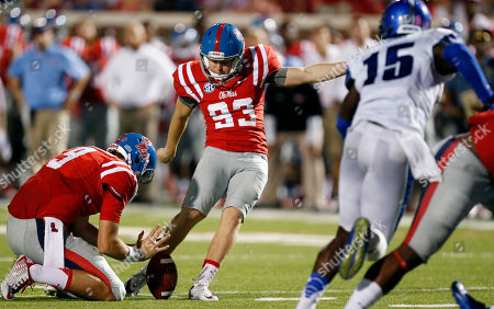 Andrew Fletcher Mississippi's Andrew Fletcher (93) kicks a field goal against Memphis in the second half of an NCAA college football game in Oxford, Miss., . No. 10 Mississippi won 24-3