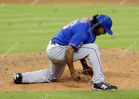 Jenrry Mejia New York Mets relief pitcher Jenrry Mejia celebrates after striking out Miami Marlins pinch-hitter Jeff Baker for the last out of a baseball game in Miami, . The Mets won 4-3