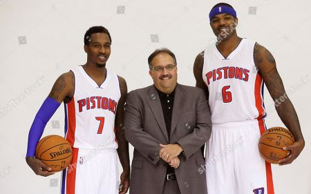 Stock Image of Stan Van Gundy, Brandon Jennings, Josh Smith Detroit Pistons coach Stan Van Gundy stands with guard Brandon Jennings (7) and forward Josh Smith (6) during media day at the team's basketball training facility in Auburn Hills, Mich