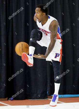 Brandon Jennings Detroit Pistons guard Brandon Jennings passes the ball during media day at the team's basketball training facility in Auburn Hills, Mich