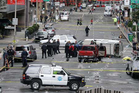 San Francisco police officers investigate scene where