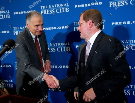 Stock Image of Ralph Nader, Grover Norquist Consumer advocate Ralph Nader, left, shakes hands with anti-tax activist Grover Norquist at the conclusion of a luncheon forum at the National Press Club, in Washington