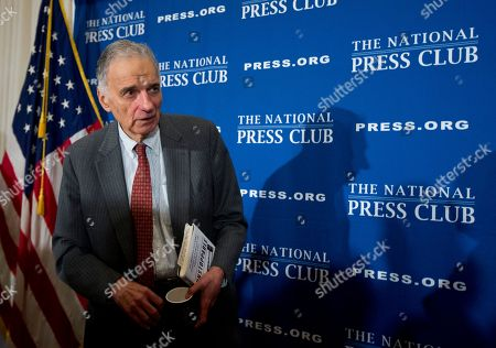 Ralph Nader Consumer advocate Ralph Nader, leaves a luncheon forum at the National Press Club, in Washington