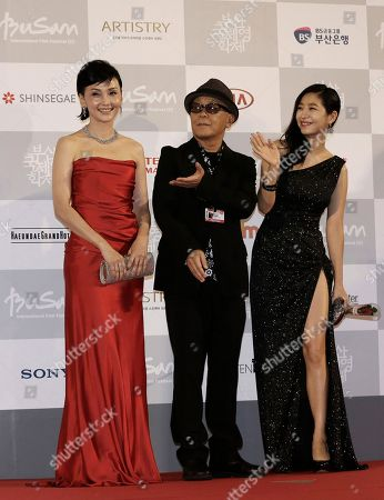 Kaho Minami, Ryuichi Hiroki, Lee Eun-Ho Japanese actress Kaho Minami, Japanese director Ryuichi Hiroki and South Korean actress Lee Eun-Ho pose as they arrive to attend the Busan International Film Festival in Busan, South Korea