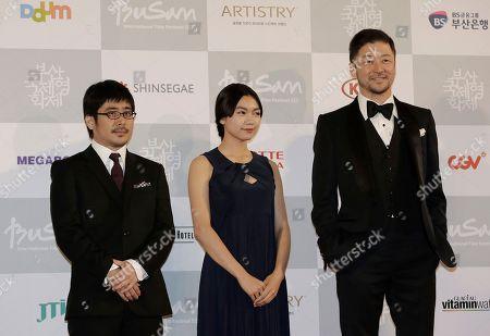 Kazuyoshi Kumakiri, Fumi NikaidoTadanobu Asano Japanese director Kazuyoshi Kumakiri, left, actress Fumi Nikaido and actor Tadanobu Asano, right, pose as they arrive to attend the Busan International Film Festival in Busan, South Korea