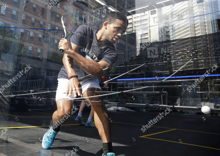Stock Picture of Adrian Grant Adrian Grant. of England, gets ready to hit the ball during a practice session for the NetSuite Open Squash Championships in a glass enclosed court on the Embarcadero, in San Francisco. The quarterfinal matches begin Friday with the finals on Tuesday. The event is one of the top 15 professional tournaments in the world as determined by prize money and is sanctioned by the Professional Squash Association. Grant was practicing against Gregory Gaultier of France