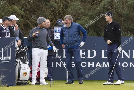 Louis Oosthuizen, Johann Rupert & Thomas Pieters share a joke on the 1st tee at Kingsbarns Golf Links during day 2 of The Alfred Dunhill Links Championship, Scotland on 6th October