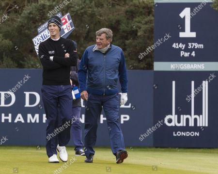 Thomas Pieters & Johann Rupert on the 1st tee at Kingsbarns Golf Links during day 2 of The Alfred Dunhill Links Championship, Scotland on 6th October