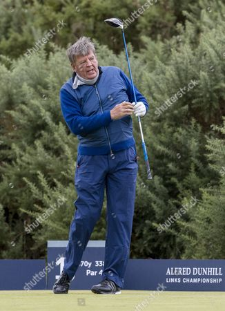Johann Rupert on the 1st tee at Kingsbarns Golf Links during day 2 of The Alfred Dunhill Links Championship, Scotland on 6th October