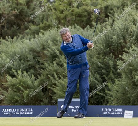 Johann Rupert on the 1st tee at Kingsbarns Golf Links during day 2 of The Alfred Dunhill Links Championship, Scotland on 7th October