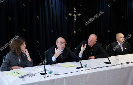 Kenneth Feinberg, Cardinal Timothy Dolan, Camille Biros, Raymond Kelly Kenneth Feinberg, second from left, speaks while Camille Biros, left, Cardinal Timothy Dolan, Archbishop of New York, second from right, and former New York City Police Commissioner Raymond Kelly listen during a news conference in New York, . The news conference was to announce a new program intended to provide reconciliation and compensation for victims of sexual abuse by clergy; Feinberg and Biros will administer the independent program while Kelly is on the oversight committee