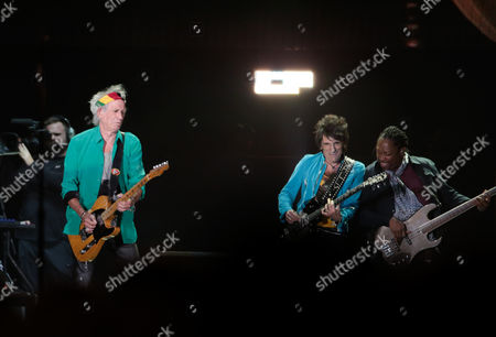 Keith Richards, Ronnie Wood and Darryl Jones of The Rolling Stones
