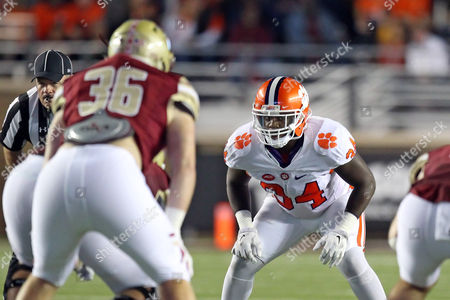 Clemson Tigers linebacker Kendall Joseph (34) in action during the first half of the NCAA football game between the Clemson Tigers and Boston College Eagles at Alumni Stadium. Clemson defeated Boston College 56-10