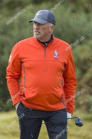 Sir Ian Botham on the 1st hole at Kingsbarns Golf Links during day 3 of The Alfred Dunhill Links Championship, Scotland on 8th October