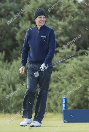 Alan Hansen, former Liverpool & Scotland footballer, now football pundit, on the 1st hole at Kingsbarns Golf Links during day 3 of The Alfred Dunhill Links Championship, Scotland on 8th October