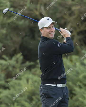 Michael Vaughan on the 1st hole at Kingsbarns Golf Links during day 3 of The Alfred Dunhill Links Championship, Scotland on 8th October
