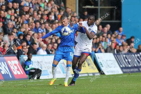 Paul Konchesky of Gillingham shields the ball from Oldham's Ousmane Fane during Gillingham vs Oldham Athletic, Sky Bet EFL League 1 Football at the MEMS Priestfield Stadium on 8th October 2016
