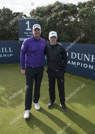 Stock Picture of Peter Hanson and Ronan Keating at Kingsbarns
