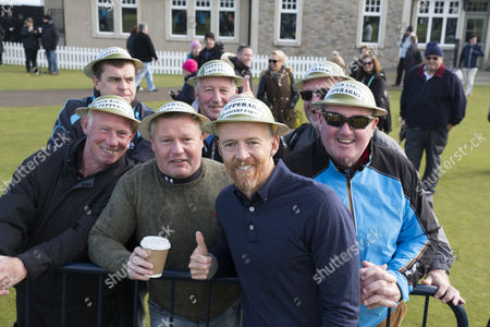 """Dave Farrell with the """"Pepperarmy"""", fans of Eddie Peperrell, at Kingsbarns"""